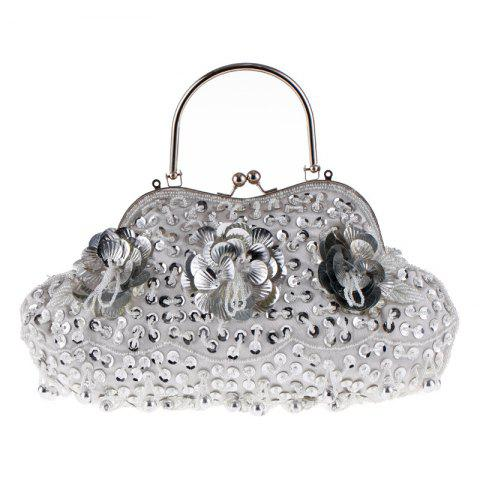 Ladies Fashion Trend in Traditional Manual Dinner Package Delicate Beaded Bag - SILVER