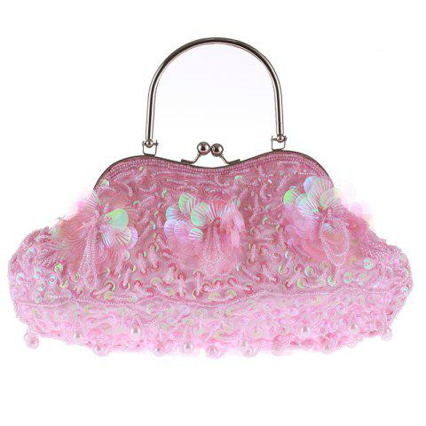 Ladies Fashion Trend in Traditional Manual Dinner Package Delicate Beaded Bag - PINK