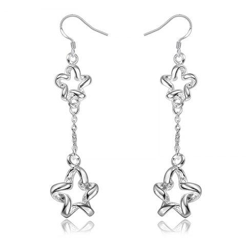 Fashion 925 Silver Earrings Plating Long Five-Pointed Star and Collars - SILVER