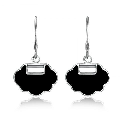 Fashion 925 Silver Colour Plated Drip Chinese Wind and Collars Earrings - BLACK