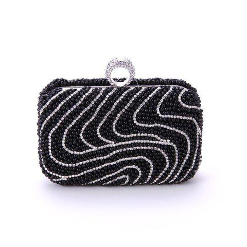 Ladies Fashion New Hand Bag Set Auger Refers To Buckle Beaded Evening Bag - BLACK