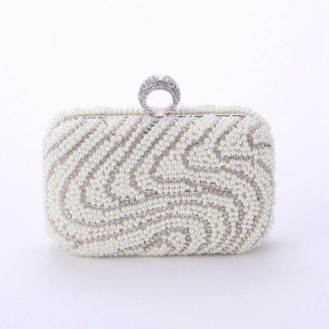 Ladies Fashion New Hand Bag Set Auger Refers To Buckle Beaded Evening Bag - CRYSTAL CREAM