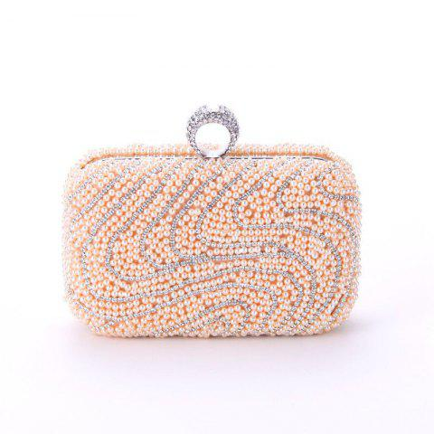Ladies Fashion New Hand Bag Set Auger Refers To Buckle Beaded Evening Bag - BROWN SUGAR