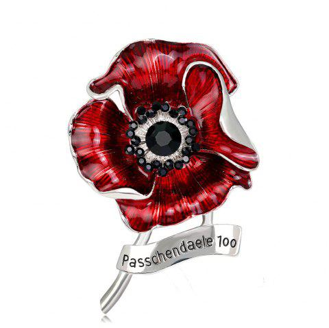 Fashionable Personality High-Grade Red Blooming Flowers Drop Glaze Brooch - SILVER
