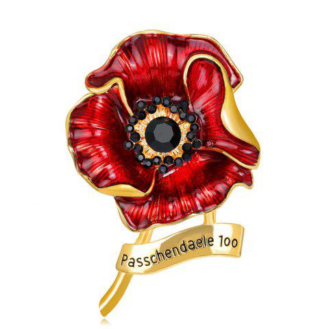 Fashionable Personality High-Grade Red Blooming Flowers Drop Glaze Brooch - CHAMPAGNE GOLD