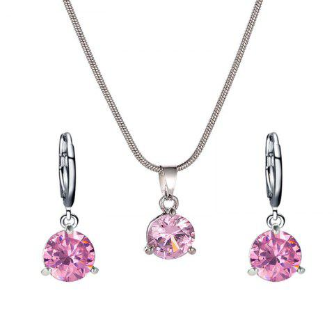 Fashion Round Zircon Necklace Earrings Set - LIGHT PINK 1 SET