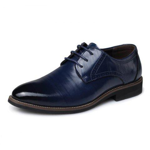 Men's British Pointed Tie Business Casual Retro Shoes - BLUE EU 39