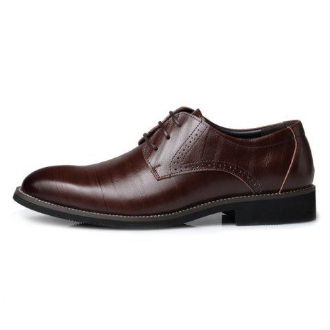 Men's British Pointed Tie Business Casual Retro Shoes - BROWN EU 46