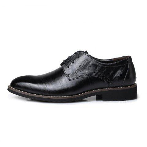 Men's British Pointed Tie Business Casual Retro Shoes - BLACK EU 38