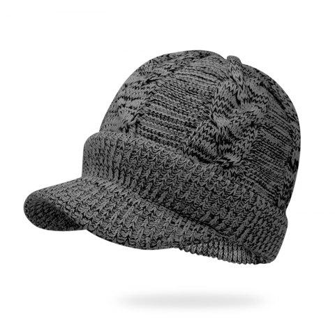 Hat Male Winter Thickening Hooded Wool Cap + Code 56-60CM Head Circumference - BLACK