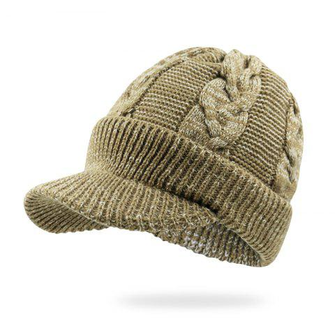 Hat Male Winter Thickening Hooded Wool Cap + Code 56-60CM Head Circumference - KHAKI