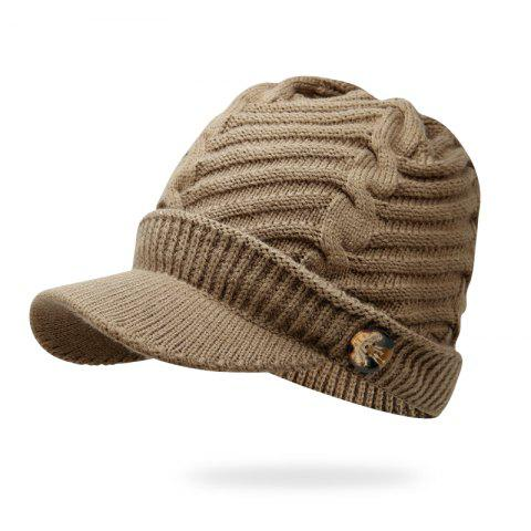 Autumn and Winter Warm Headgear Knit Hat + Code 56-60CM Head Circumference - KHAKI