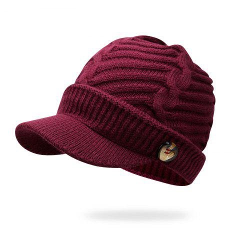 Autumn and Winter Warm Headgear Knit Hat + Code 56-60CM Head Circumference - RED WINE