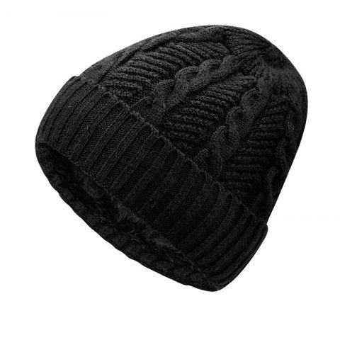 Warm Cap and Plush Wool Cap + Size Code for 56-60CM Head Circumference - BLACK
