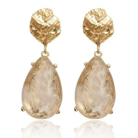Transparent Drop-Shaped Alloy Inlaid Long Earrings - GOLD 1 PAIR