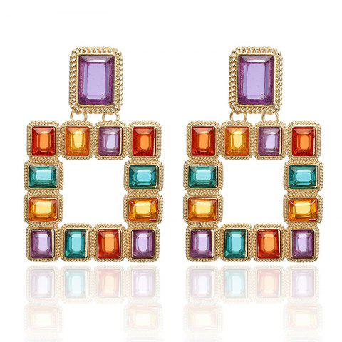 Square Color Crystal Inlaid Alloy Earrings Personalized Sexy Nightclub Earrings - MAUVE 1 PAIR