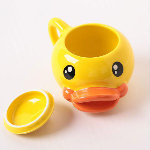 Lovely 3D Duck-Mouth Cup Coffee Mug Cartoon Ceramics Cup - YELLOW 1PC
