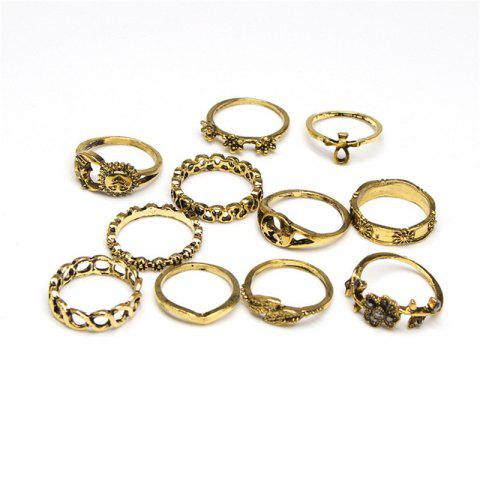 Fashionable and Delicate Lady Flower Sun 11 Rings Set - GOLD RING SET