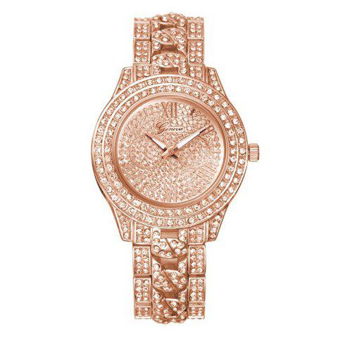 GENEVA Women Trend Diamond Encrusted Alloy Quartz Watch - multicolor C