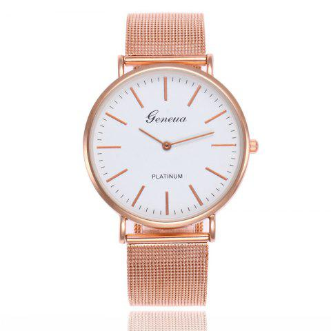 GENEVA Women Stainless Steel Mesh  Band Ultrathin Quartz Watch - multicolor C