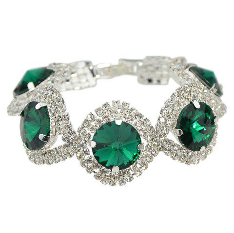 Green Crystal Chains Bracelet - DEEP GREEN