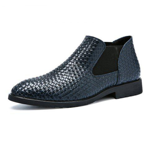 Hand-knitted Men's Leather Boots - BLUE EU 48