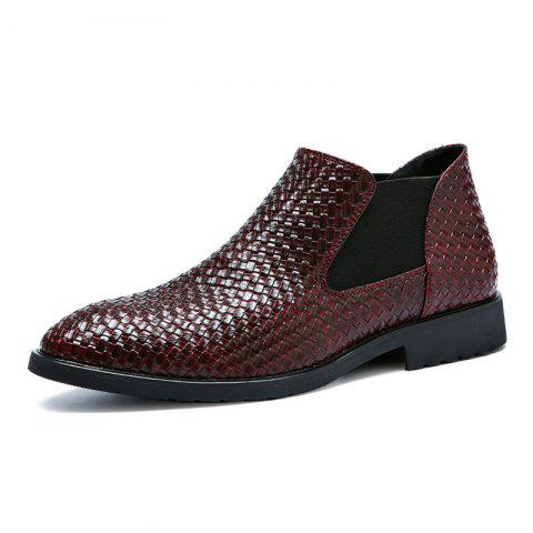 Hand-knitted Men's Leather Boots - RED EU 45