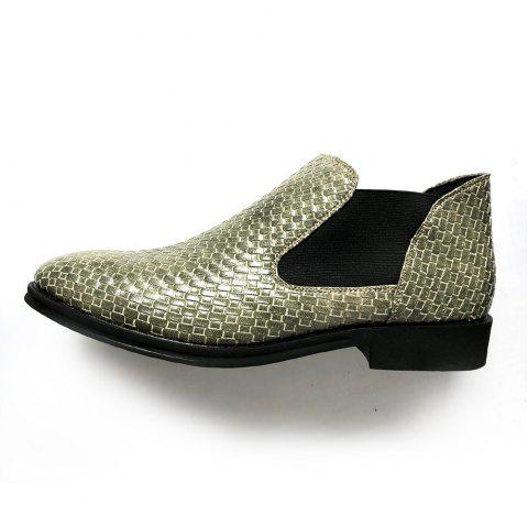 Hand-knitted Men's Leather Boots - AVOCADO GREEN EU 39