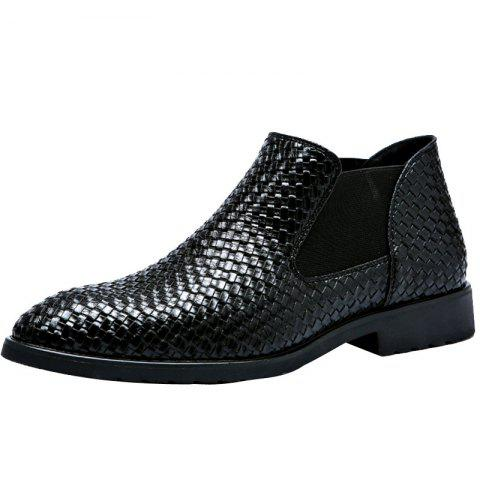 Hand-knitted Men's Leather Boots - BLACK EU 38