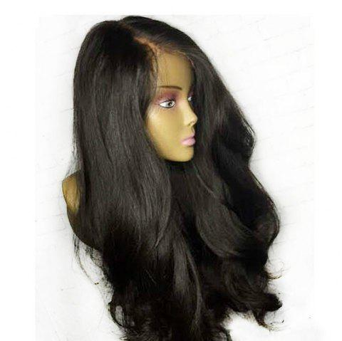 Solid Color Front Lace Long Curly Hair Fluffy Wavy Bouncy Black Wig Headgear - BLACK 18INCH