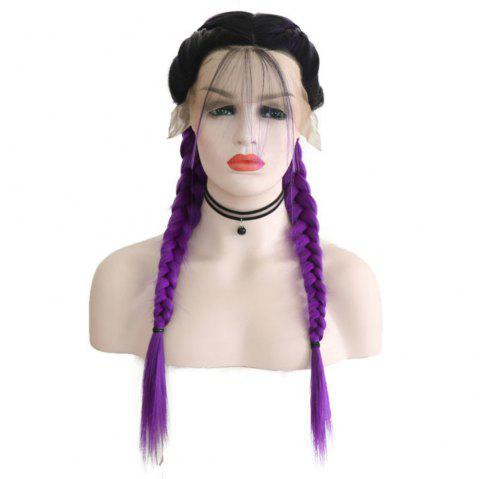 New Wig Fashion Middle Score Long Straight Hair Multicolor Optional Braided Wig - PURPLE 24INCH