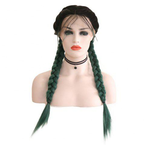 New Wig Fashion Middle Score Long Straight Hair Multicolor Optional Braided Wig - GREEN 24INCH