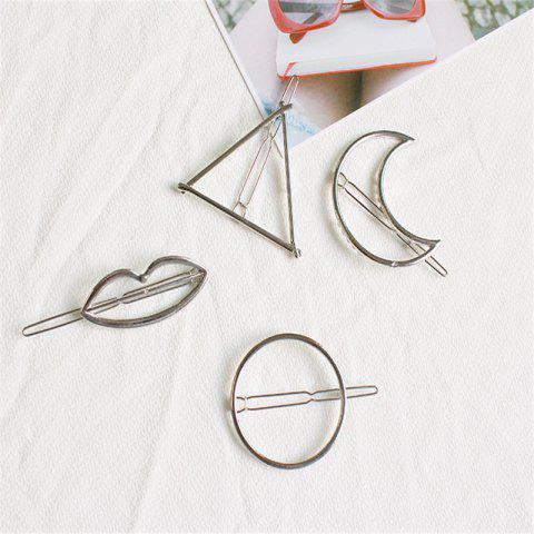 Color-Protection Plating Geometry Hairpin Clips Simple Hair Accessories 4 Pack - SILVER