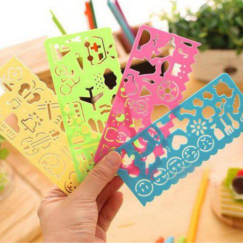 Children's Creative Multifunctional Drawing Template Ruler - multicolor