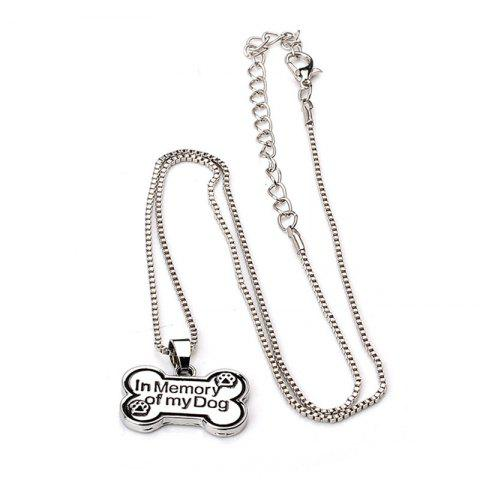 Fashionable Personality Men's  Bone Dog Brand Necklace - SILVER