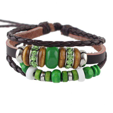 Green Beads Decoration Wrap Bracelets - COFFEE