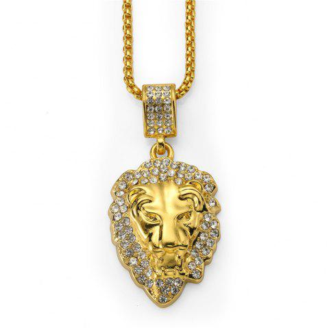 NYUK Solid Dense Diamond Lion Head Pendant Necklace Accessories - GOLD