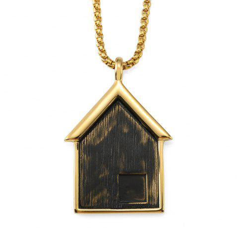 NYUK New Stainless Steel Pendant Necklace for Small House - GOLD