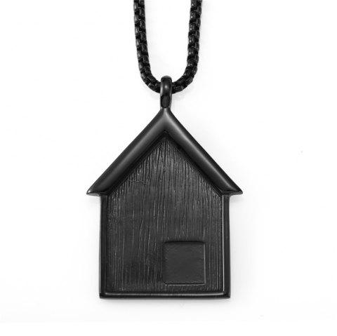 NYUK New Stainless Steel Pendant Necklace for Small House - BLACK