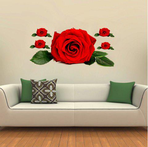 3D Wall Sticker Creative Valentine's Day Roses - multicolor