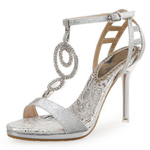 Summer High Heels Gold Fashion Catwalk Rhinestone Shoes Sexy Sandals - SILVER EU 35