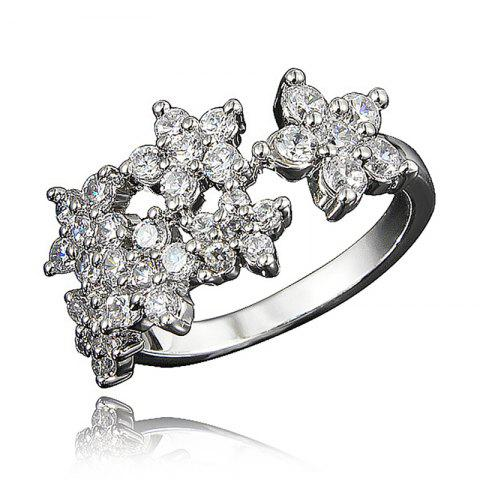XU Women Zircon 18K Gold Plated Ring for Wedding Party Birthday Gift - SILVER US 8