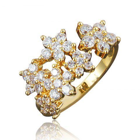 XU Women Zircon 18K Gold Plated Ring for Wedding Party Birthday Gift - GOLD US 6