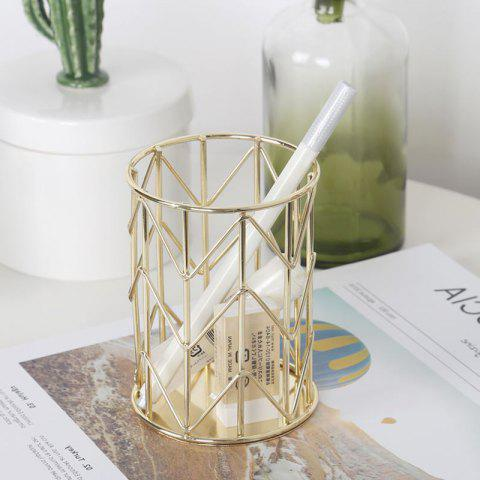 Nordic Metal Wrought Iron Pen Holder Lace Twill Makeup Storage - GOLD 11*8CM