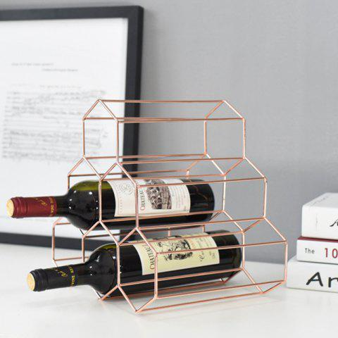 Hollow Wrought Iron Wine Rack Bar Metal Ornaments Plating - ROSE GOLD 28.5*27.5*21.5CM