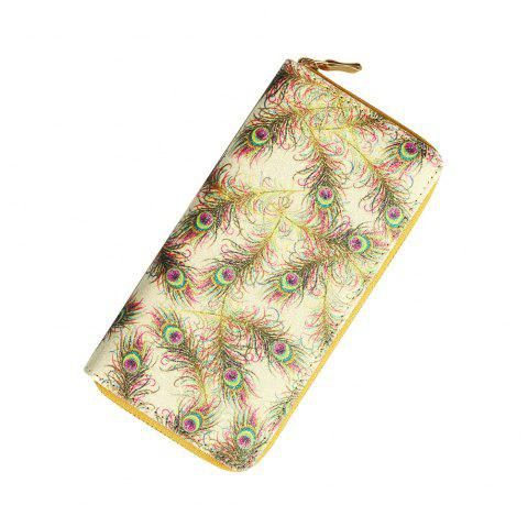 Porte-monnaie Cute Cartoon Animal Peacock Plume Lady PU Portefeuille - Verge d'Or