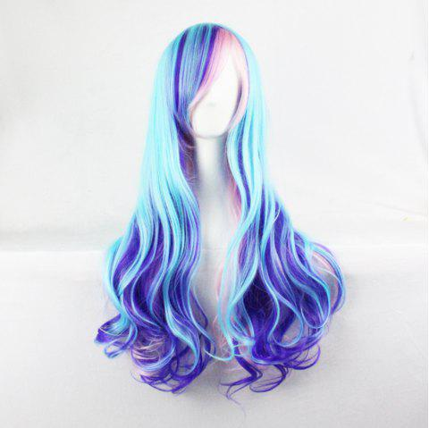 Harajuku Gradual 68 Cm Long Curly Hair Color Blue Mixed Pink Fashion Hair Cover - multicolor A
