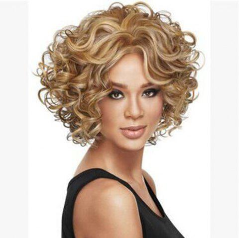 Blockbuster Lady'S Short Curly Rose Mesh Fluffy Headset Wig - multicolor B 1PC