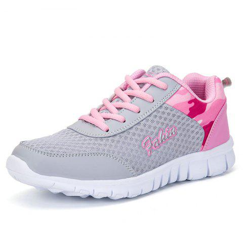 Women'S Sports Shoes Flat Bottom Breathable Running Shoes Large Size - PINK EU 36