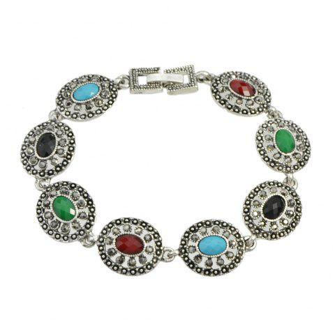 Colorful Round Beads Bracelet - SILVER
